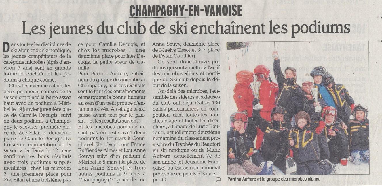 On parle de la sectionmulti-activité du ski-club dans ledauphiné
